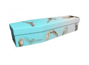 Cardboard coffin - Barn Owls on Sky Blue - 3847