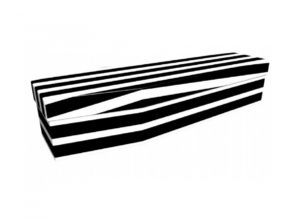 Cardboard coffin - Black and white pinstripe - 3719