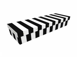 Cardboard coffin - Black & White Pinstripe SQ Casket - 3819