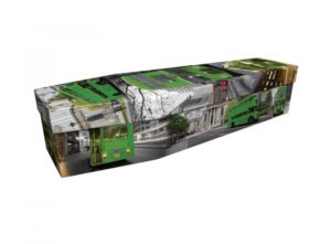 Cardboard coffin - Green Routemaster Bus - 3723