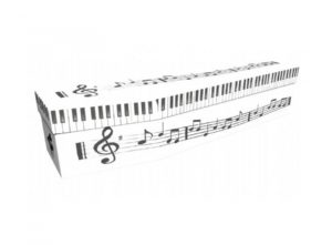 Cardboard coffin - Piano keyboard and music - 3797