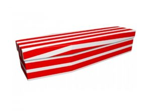 Cardboard coffin - Red and white pinstripe - 3724