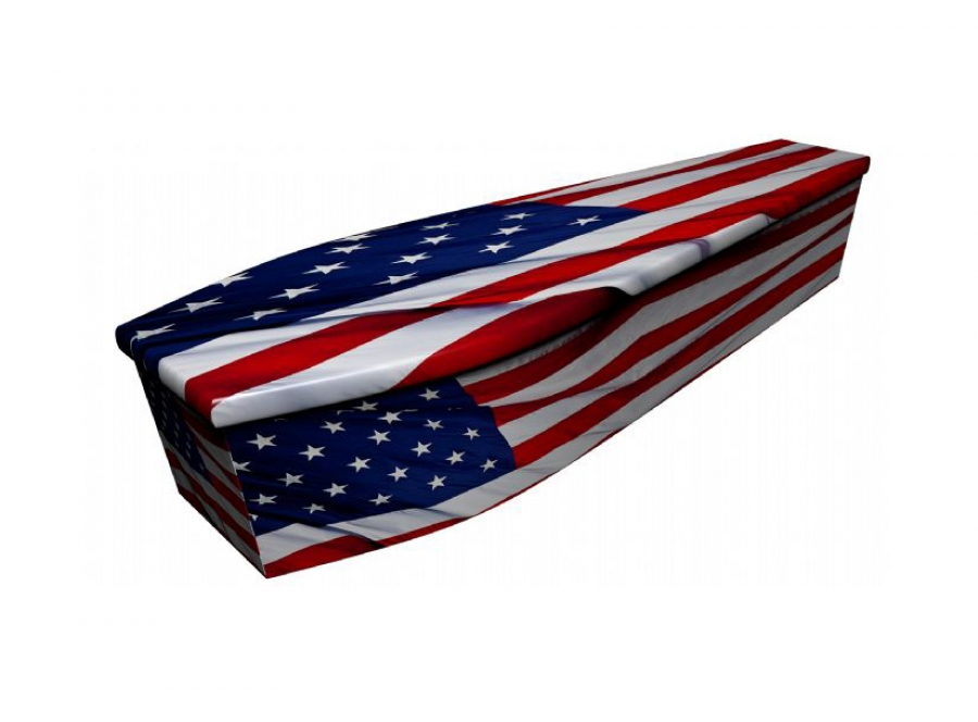 Wooden coffin - American flag - 4066