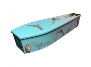 Wooden coffin - Barn Owls on Sky Blue - 4157