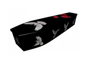 Wooden coffin - Doves - 4038