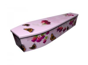 Wooden coffin - Pink Fuchsias with Butterflies - 4216
