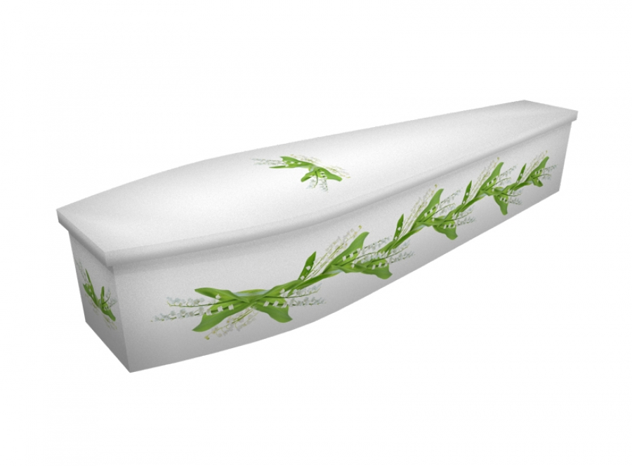 Wooden coffin - Watercolour Lily - 4301