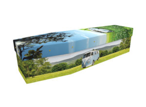 Cardboard coffin with an image of a light blue and white VW camper van