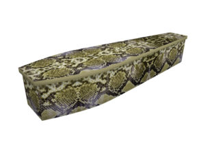 Cardboard coffin with an image of a snakeskin print
