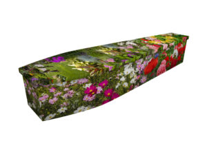 Cardboard coffin with an image of wild flowers