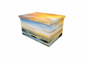 Cardboard Ash Casket - Seaside Sunset - 3789a