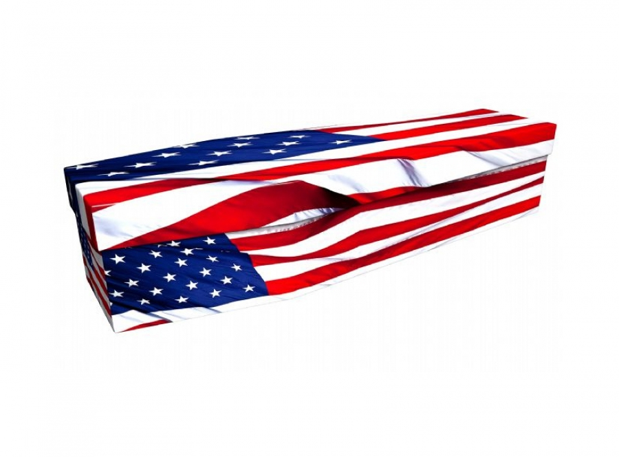 Cardboard coffin - American flag - 3654