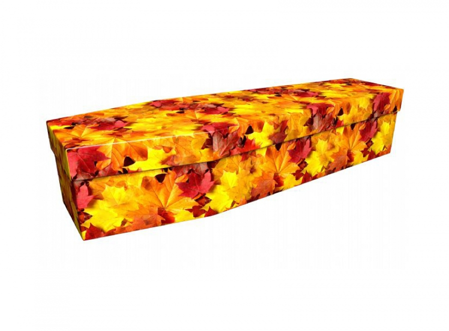 Cardboard coffin - Autumn leaves - 3746