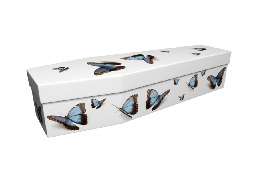 Cardboard coffin - Blue Butterflies - 3592