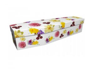 Cardboard coffin - Dahlia and Cosmos and Freesias - 3764