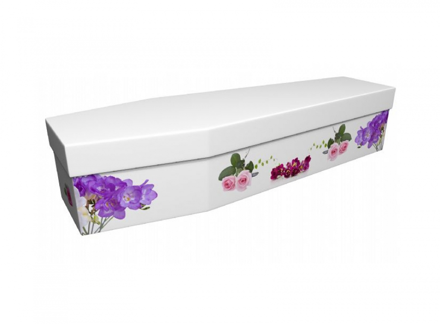 Cardboard coffin - Freesias and Roses - 3932