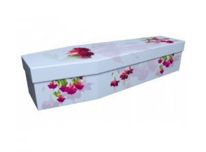 Cardboard coffin - Fuchsias on blue - 3940