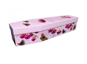 Cardboard coffin - Pink Fuchsias with Butterflies - 3708