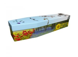 Cardboard coffin - Wild Flowers & Birds - 3721