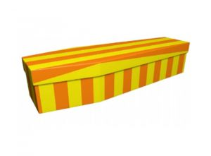 Cardboard coffin - Yellow and orange pinstripe - 3681