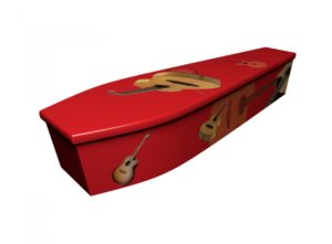 Wooden coffin - Acoustic Guitar on Red - 4154