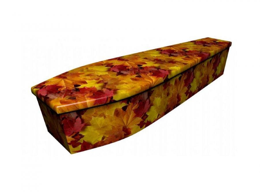 Wooden coffin - Autumn leaves - 4068