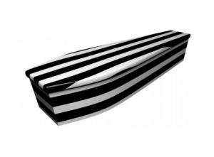 Wooden coffin - Black and white pinstripe - 4072