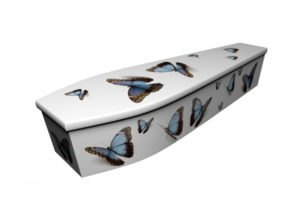 Wooden coffin - Blue Butterflies - 4160