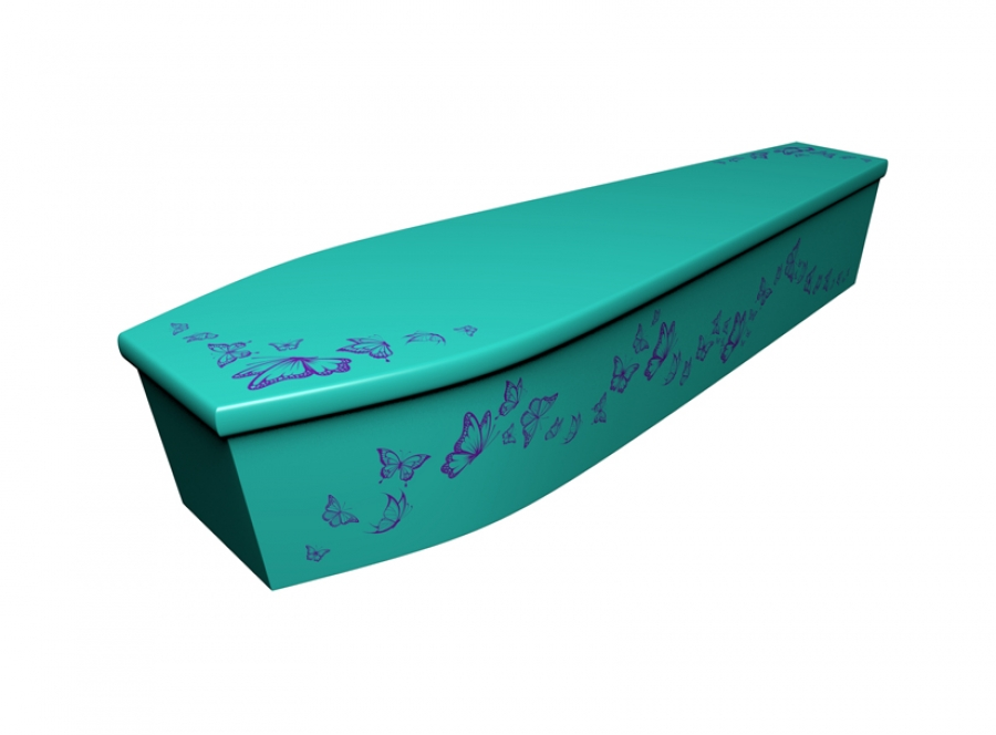 Wooden coffin - Butterfly Silhouette - 4166