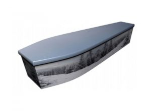 Wooden coffin - Christmas winter scene - 4075