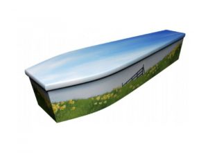 Wooden coffin - Daffodils - 4077
