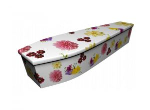 Wooden coffin - Dahlia and Cosmos and Freesias - 4078