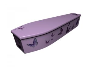 Wooden coffin - Lilac Butterflies - 4201