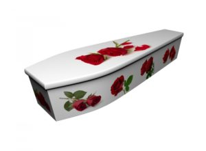 Wooden coffin - Red Roses - 4223