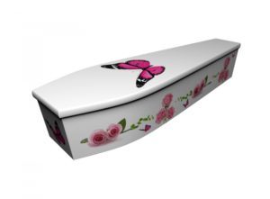 Wooden coffin - Roses with Butterflies - 4230