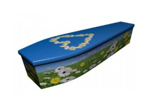 Wooden coffin - Summer scene with daisy chain - 4128