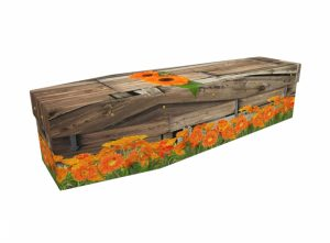 Cardboard coffin - Marigolds on Wood - 3514