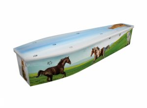 Wooden coffin - Horses & Cats - 4288