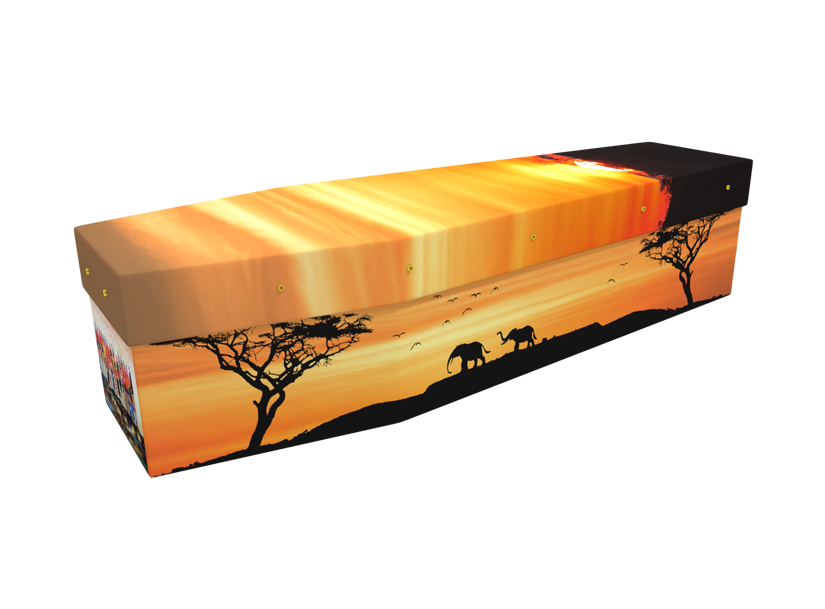 African Sunset picture cardboard coffin