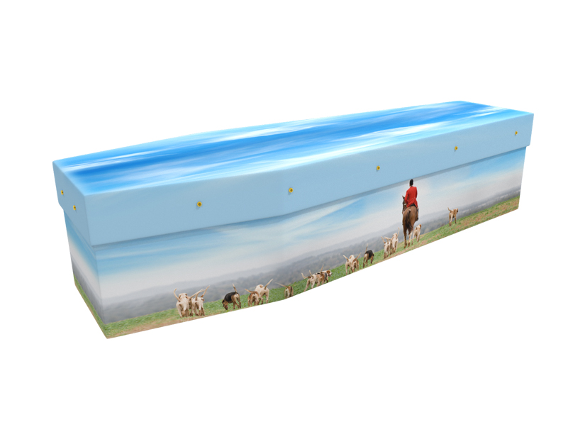 Horse and hounds picture cardboard coffin