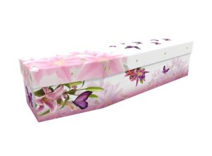 Picture cardboard coffin with lily and butterflies