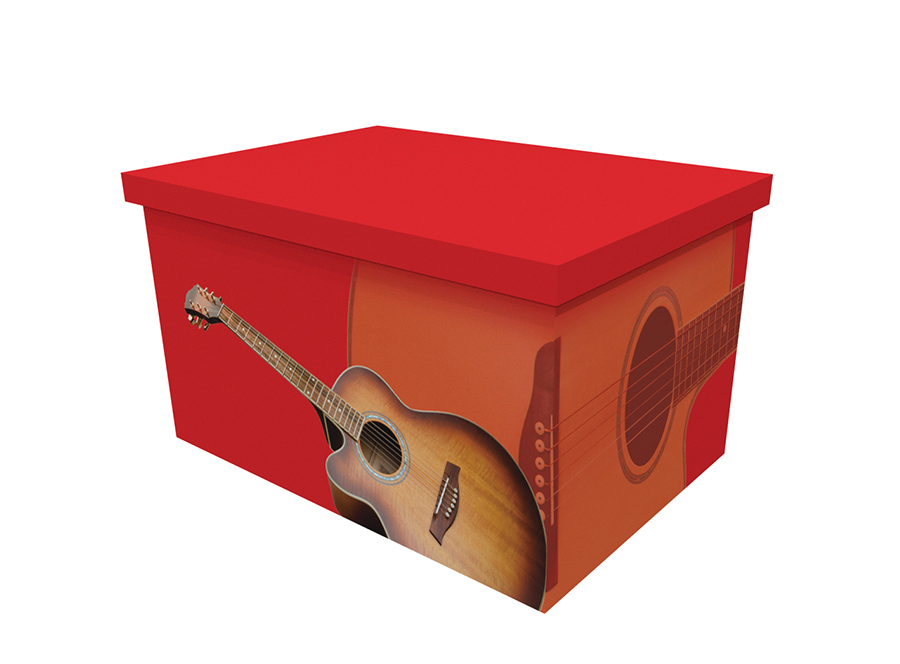 Cardboard ash casket with an image of a guitar on a red background