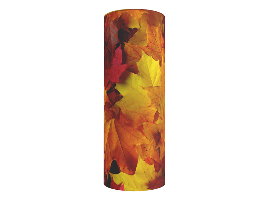 Cardboard scatter tube for ashes with an image of autumn leaves