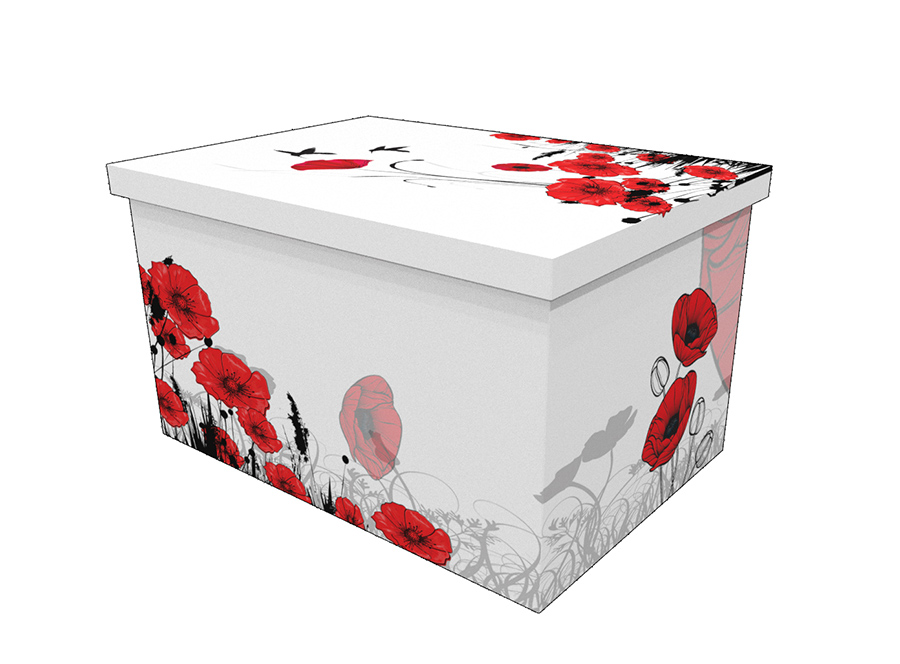 Cardboard ash casket with an image of red poppies