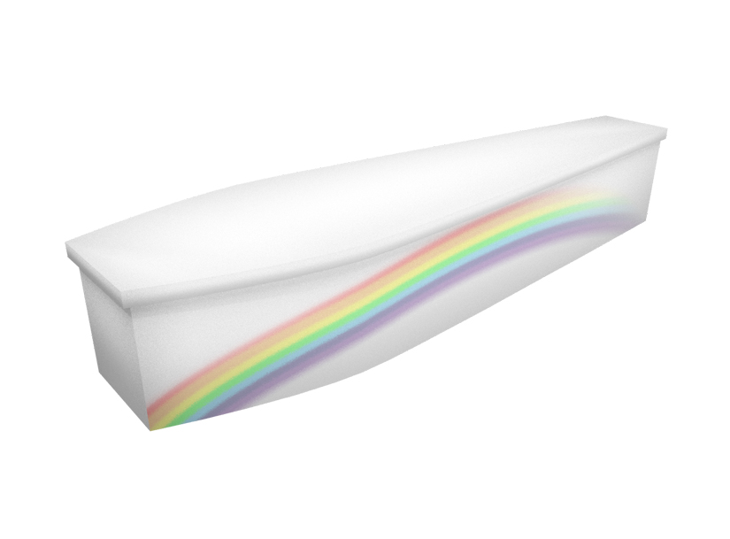 Cardboard coffin with image of a rainbow