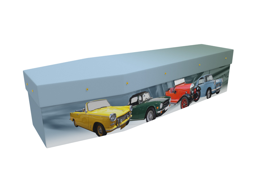 Cardboard coffin with an image of vintage cars