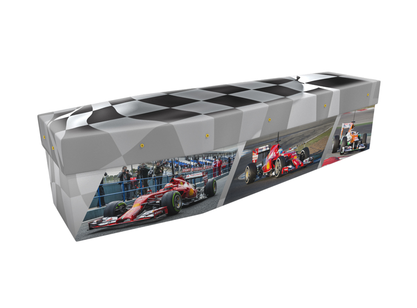Cardboard coffin with an image of formula one racing cars and chequered flag