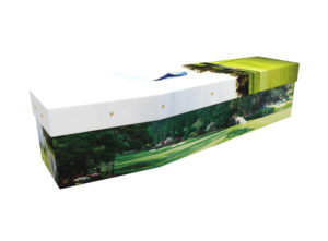 Cardboard coffin with an image of a man playing golf
