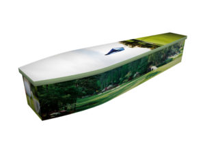Wooden coffin with an image of a man playing golf