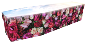 floral cardboard coffin bed of roses